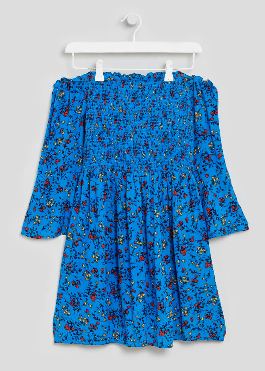 Floral Shirred Bardot Dress - Blue