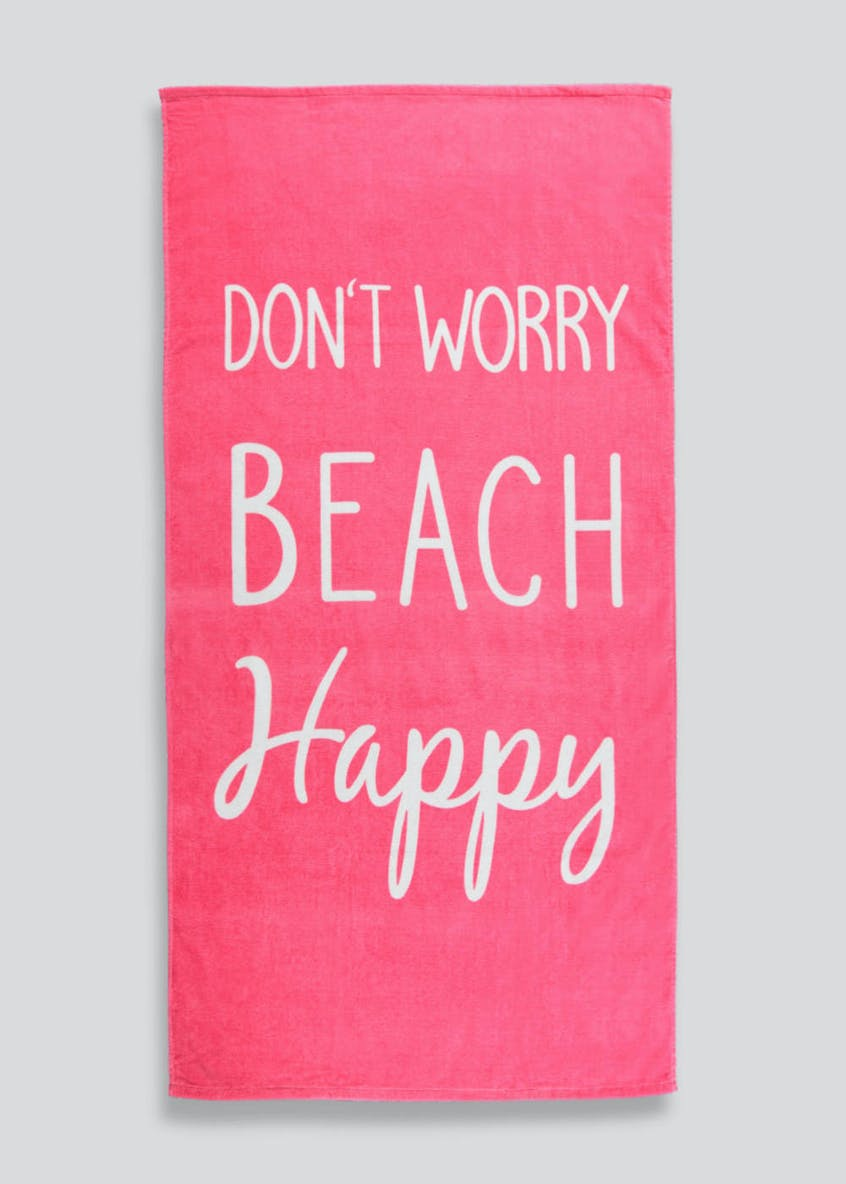 Happy Slogan Beach Towel (160cm x 80cm)