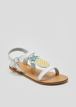 Girls Real Leather Beaded Pineapple Sandals (Younger 10-Older 5)