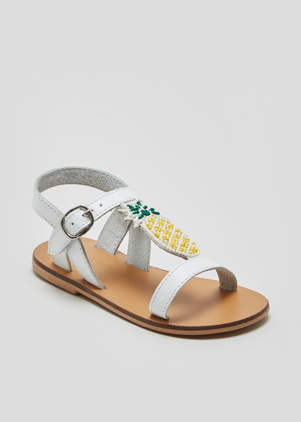 6f2fe6fbb4a954 Girls Real Leather Beaded Pineapple Sandals (Younger 4-12) – – Matalan