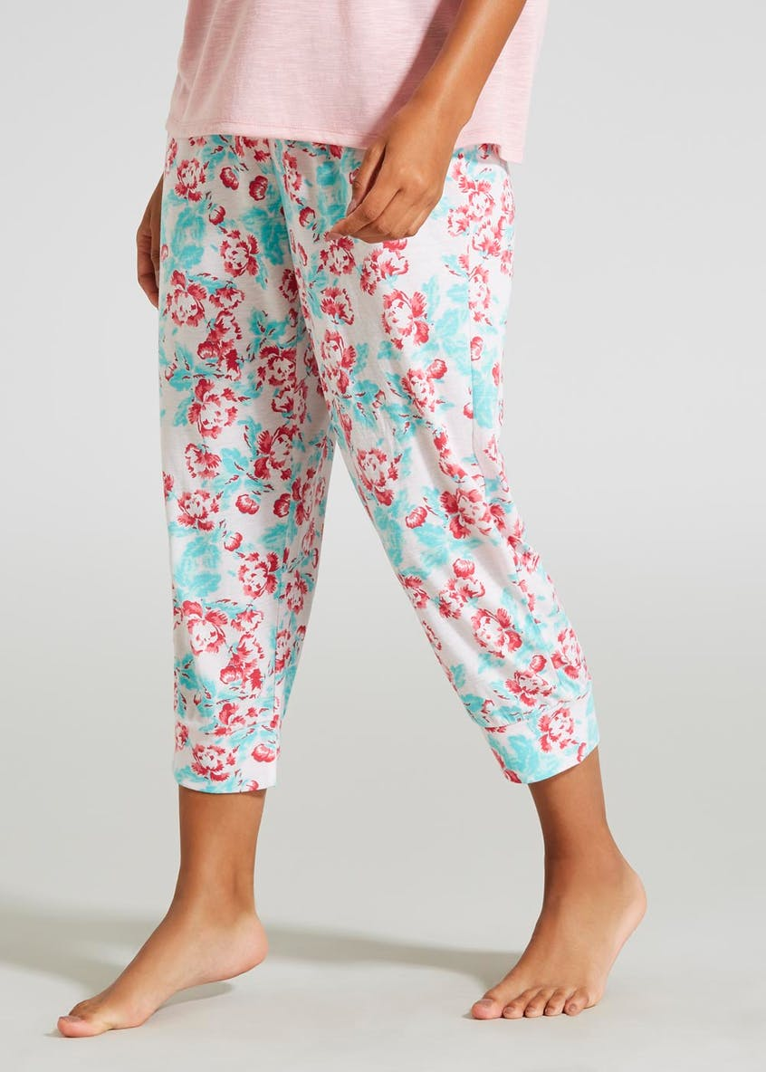 Mix & Match Floral Cuffed Cropped Pyjama Bottoms