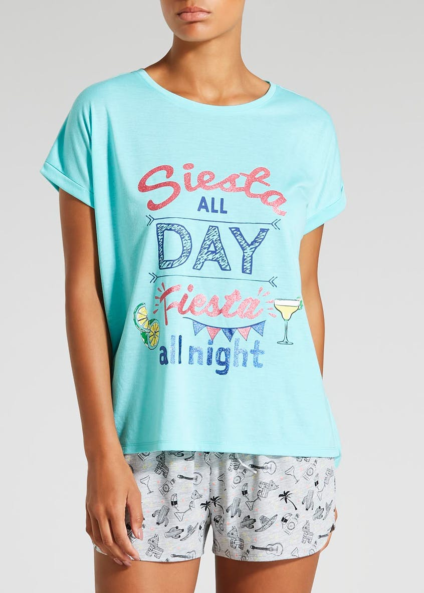 Siesta Slogan Short Pyjama Set