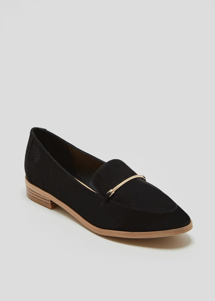 Pointed Metal Bar Loafers