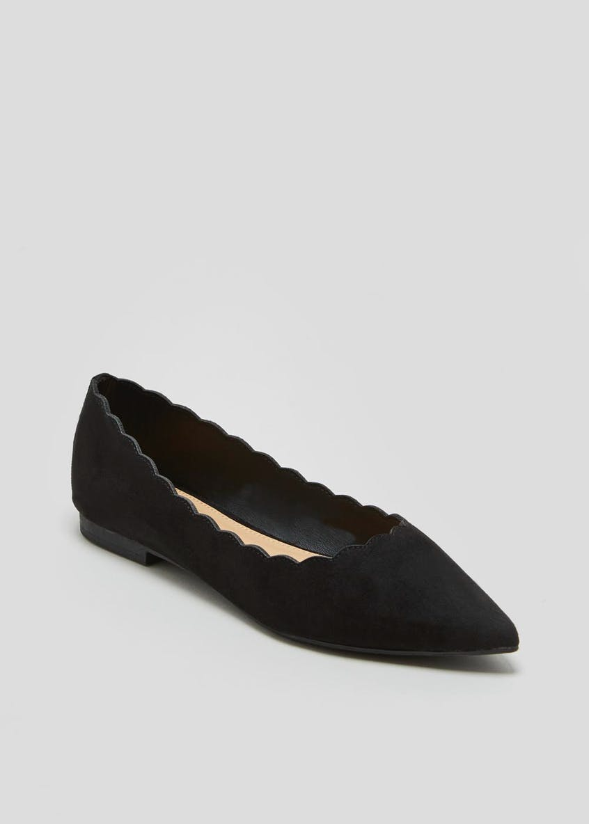 Wide Fit Scalloped Edge Pointed Ballet Shoes