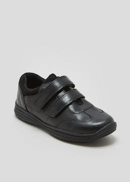 Boys Real Leather Double Strap School Shoes (Younger 10-Older 6)