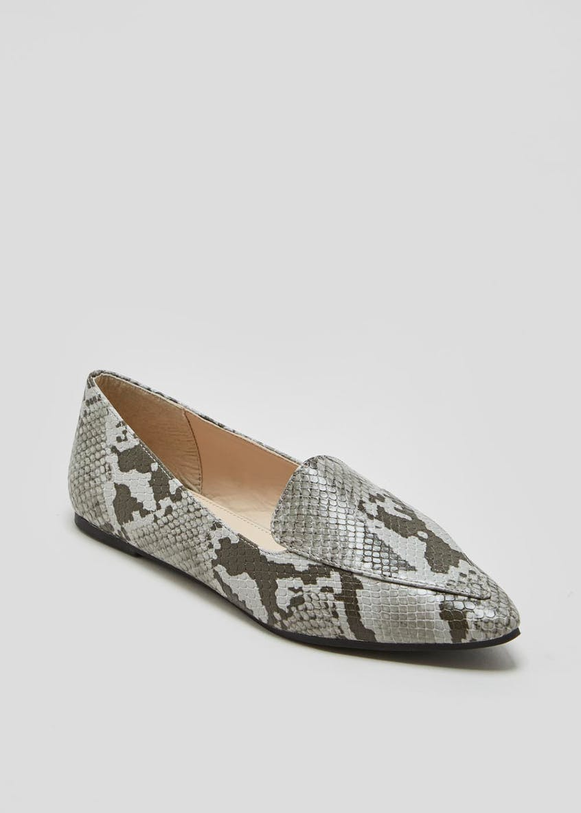 Faux Snakeskin Pointed Ballet Shoes