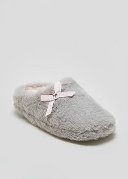 Girls Faux Fur Mule Slippers (Younger 10-Older 5)