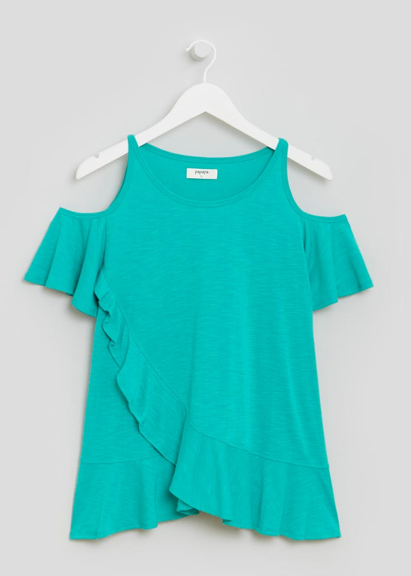 Frill Cold Shoulder Top