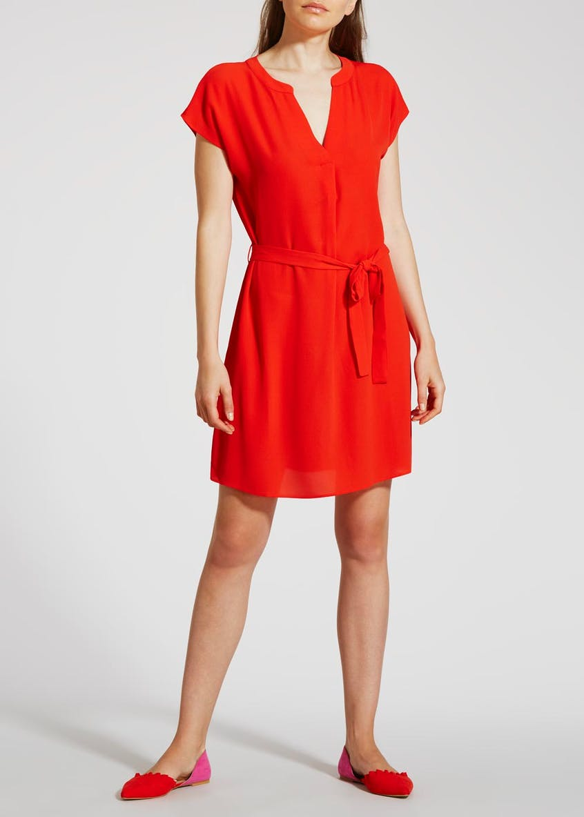Grandad Collar Shirt Dress - Red