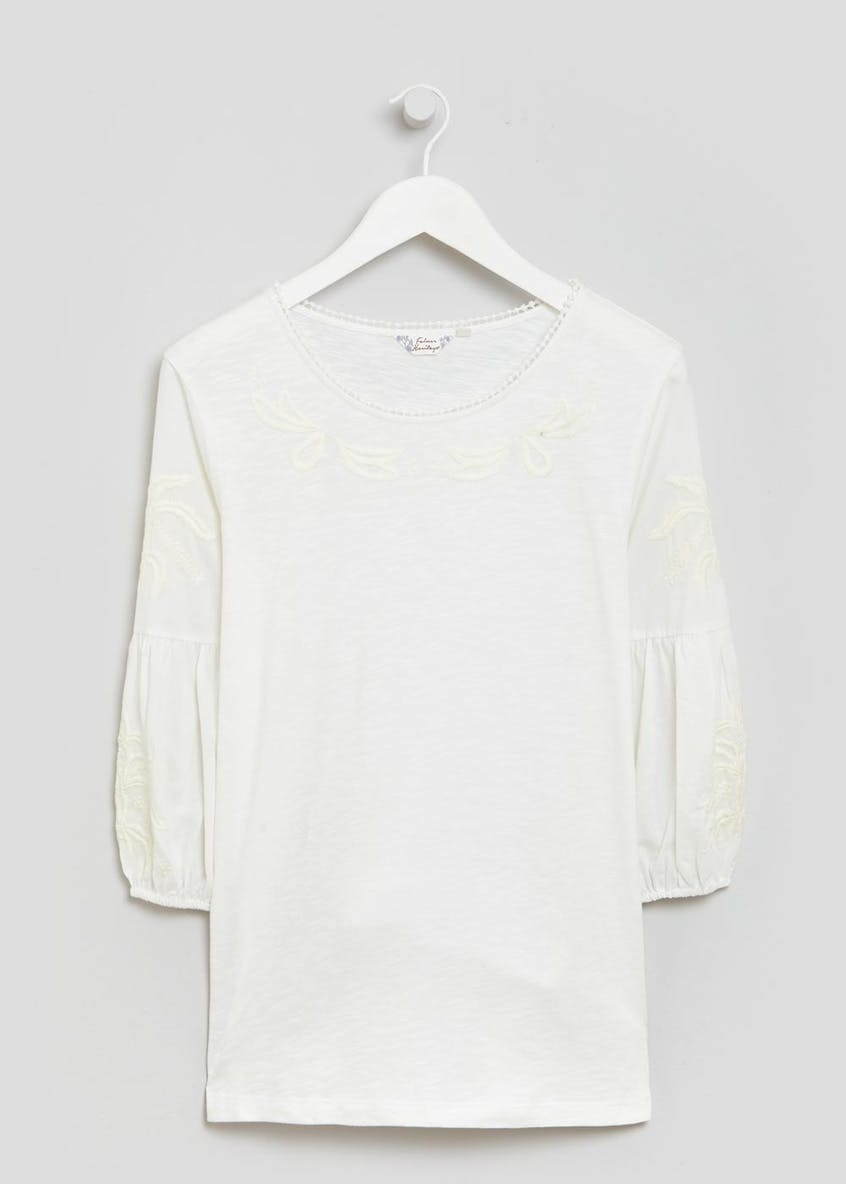 Falmer Embroidered Woven Jersey Top
