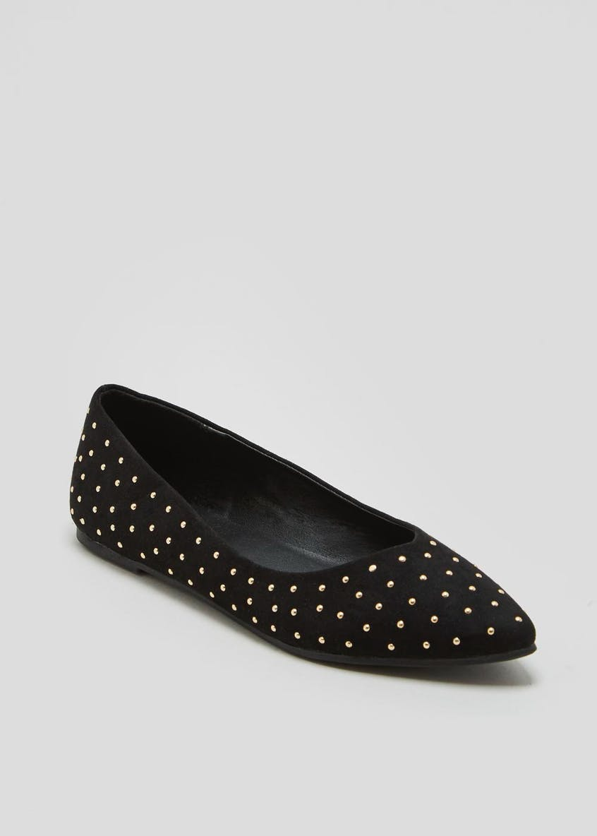 Studded Pointed Ballet Shoes