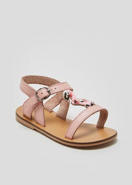 Girls Real Leather Beaded Flamingo Sandals (Younger 4-12)