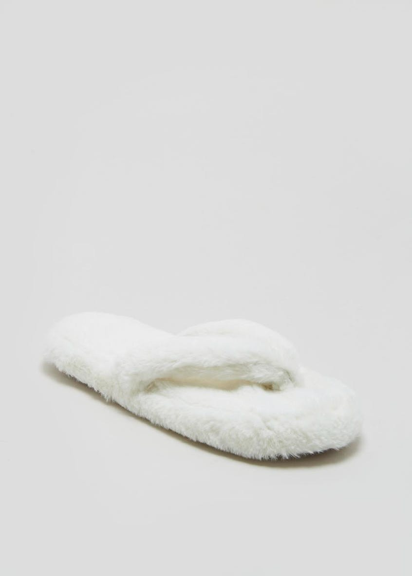 Faux Fur Toe Post Slippers