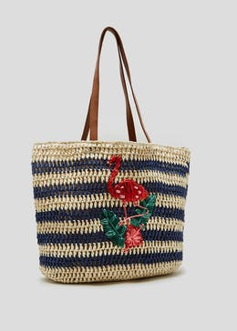 Flamingo Stripe Straw Tote Bag