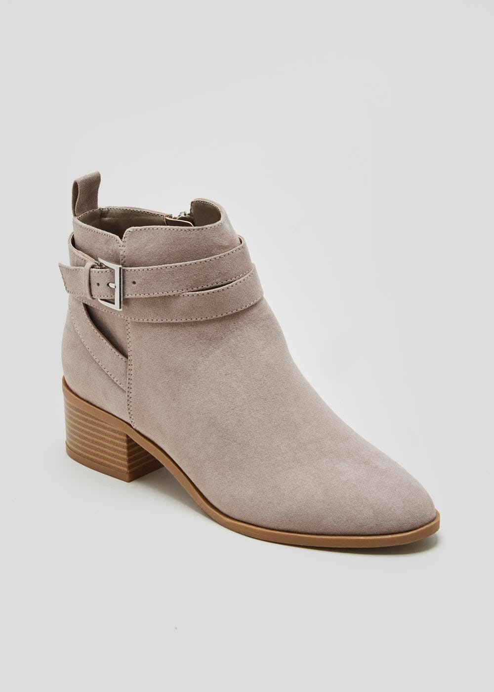 Wide Fit Buckle Ankle Boots – Grey