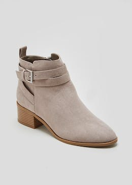 Wide Fit Buckle Ankle Boots