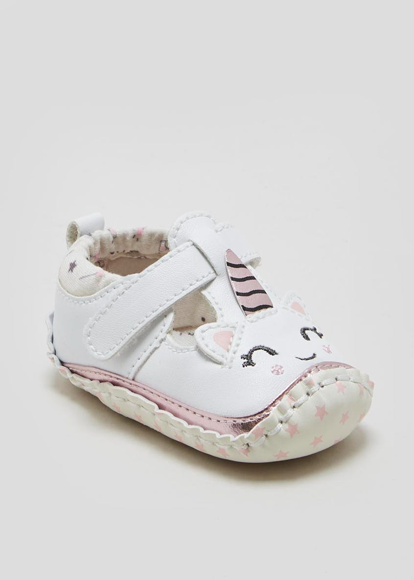 Girls Soft Sole Unicorn Moccasin Baby Shoes (Newborn-18mths)