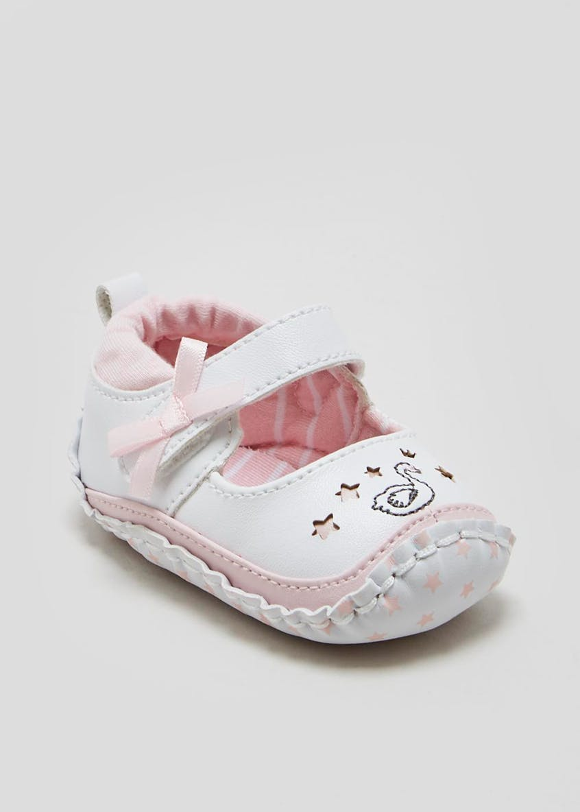 Girls Soft Sole Swan Moccasin Baby Shoes (Newborn-18mths)