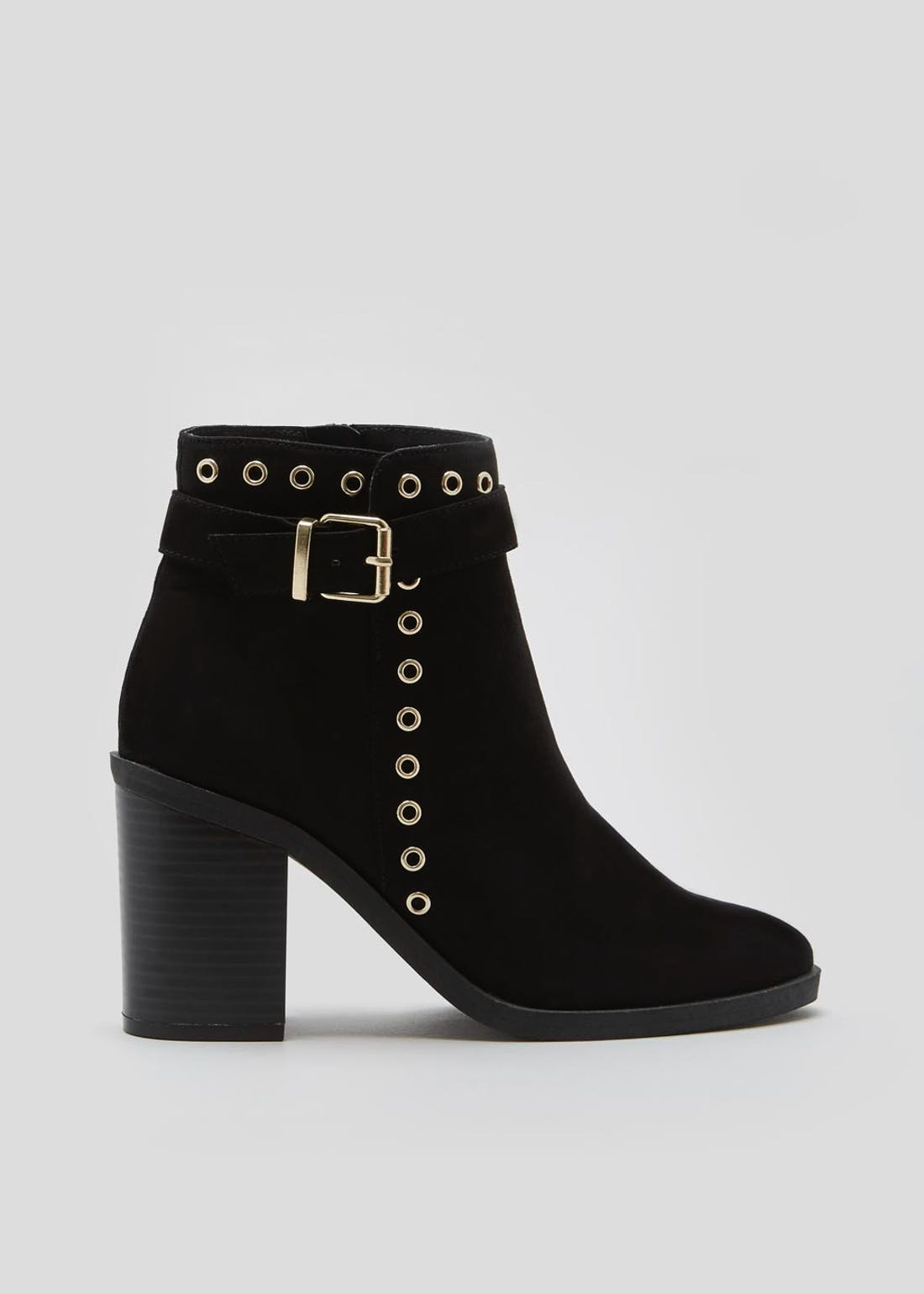 Eyelet Block Heel Ankle Boots