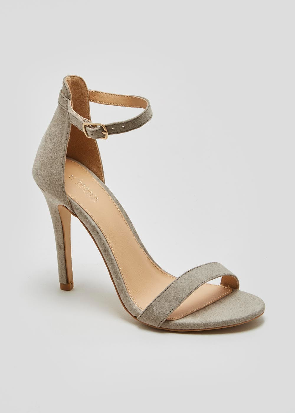 8eb4a3d1eb29ca Barely There Strappy Heels – Grey – Matalan