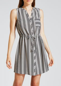 Striped Sleeveless Utility Dress