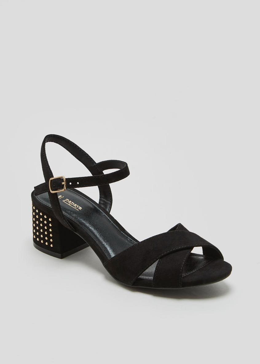 Studded Block Heel Strappy Sandals