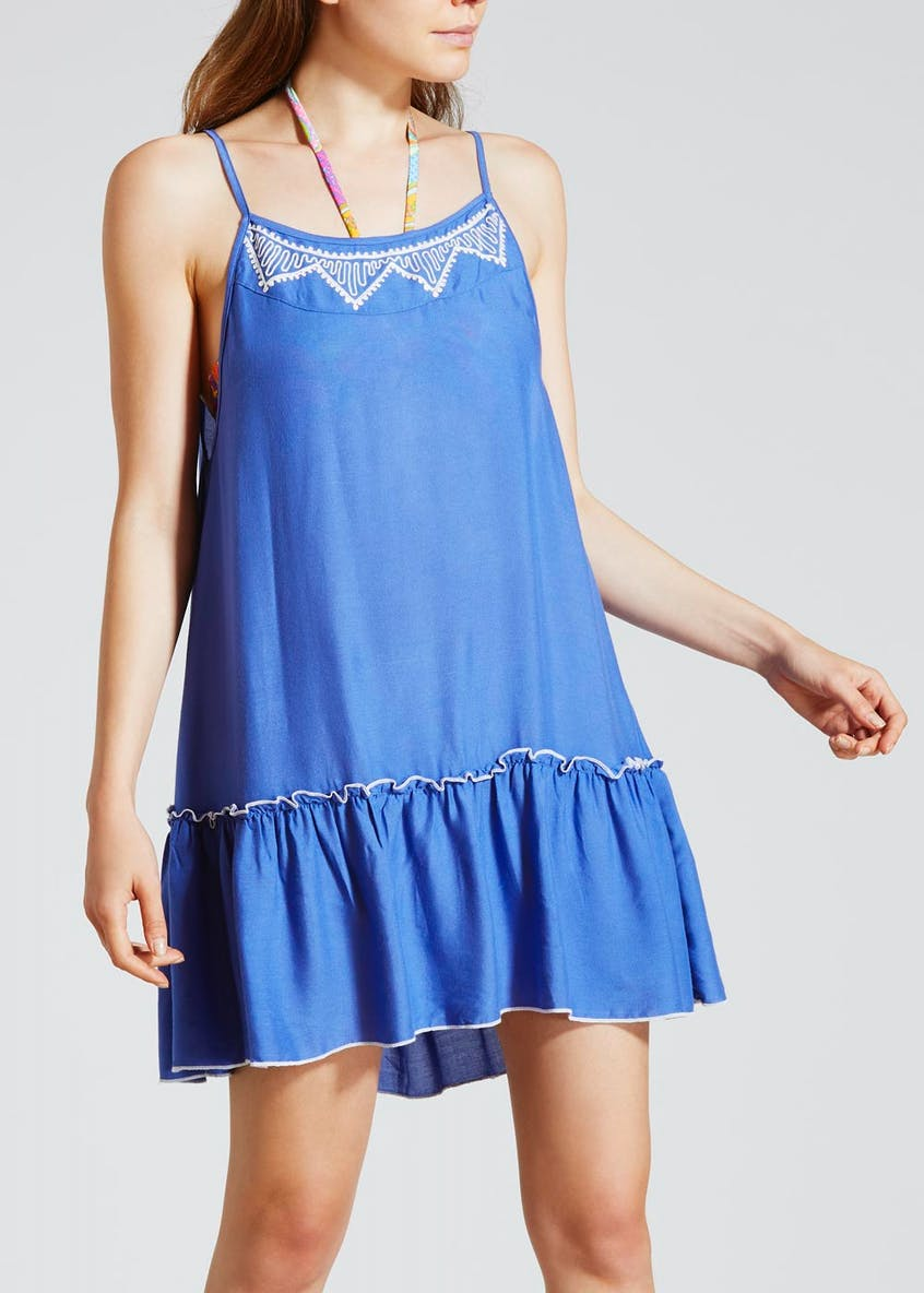 Embroidered Swing Beach Dress - Blue