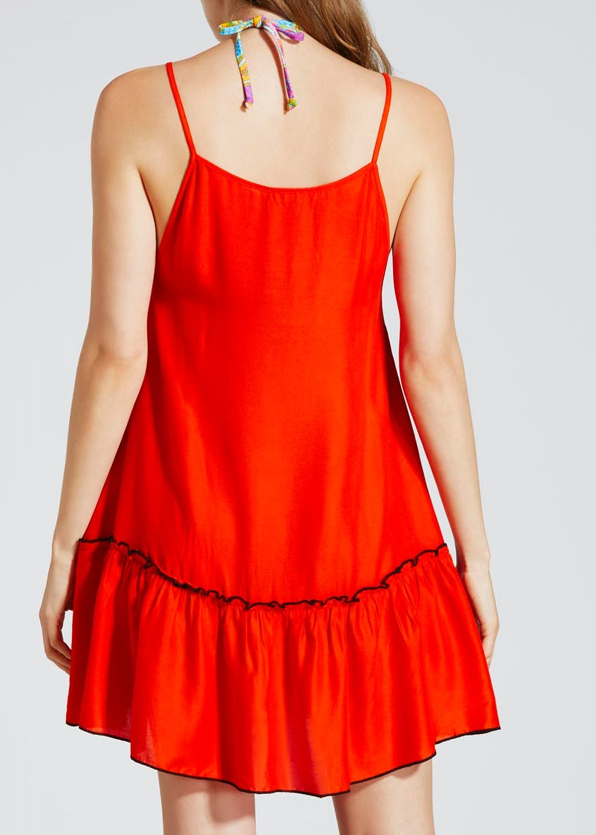 Embroidered Swing Beach Dress - Orange
