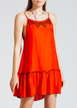 Embroidered Swing Beach Dress