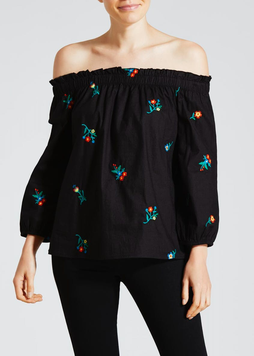 Floral Embroidered Bardot Blouse
