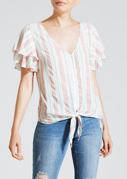 Frill Sleeve Tie Front Blouse