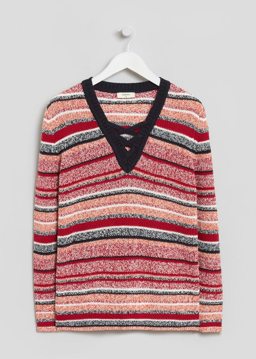 Stripe Lace Up Jumper
