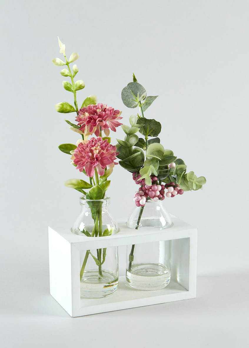 Flowers in Glass Bottles & Crate (26cm x 14cm x 7cm)