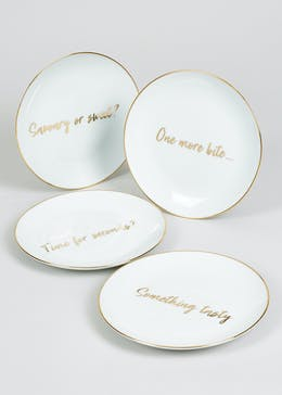 4 Pack Decal Slogan Appetiser Plates (19cm)