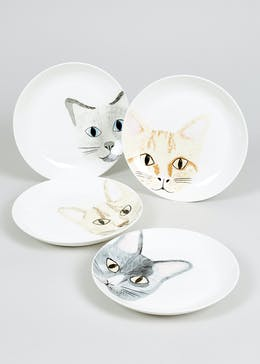 4 Pack Decal Cat Appetiser Plates (19cm)