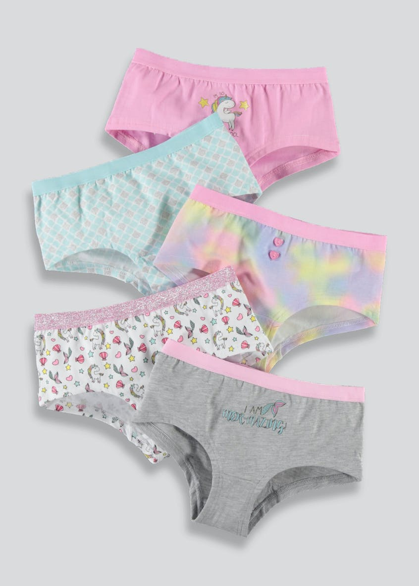 Girls 5 Pack Unicorn Boy Shorts (6-13yrs)