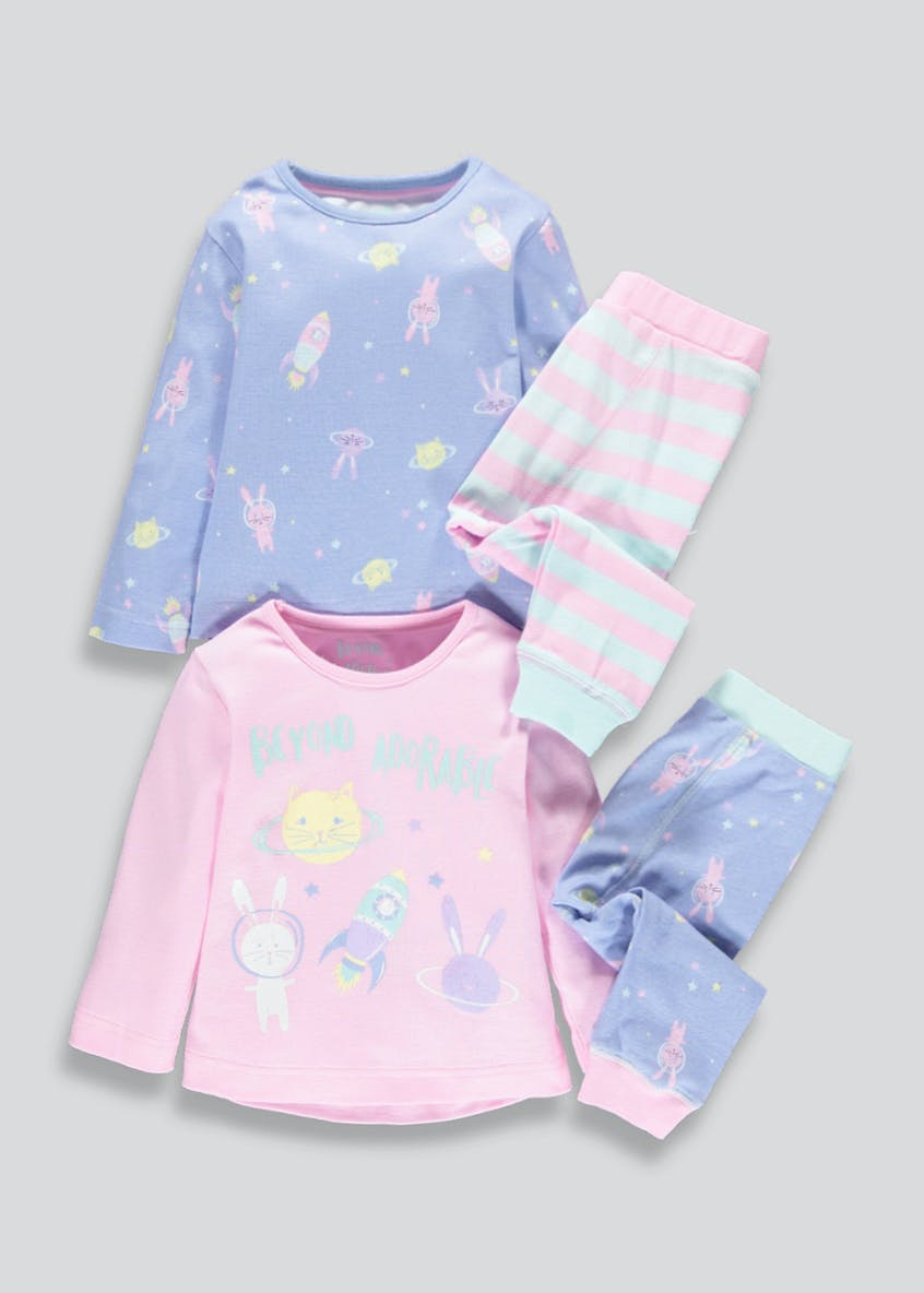 Girls 2 Pack Space Bunny Pyjamas (9mths-5yrs)