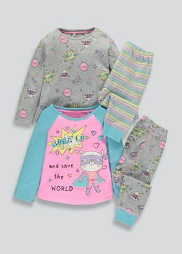 Girls 2 Pack Cat Superhero Pyjamas (9mths-5yrs)