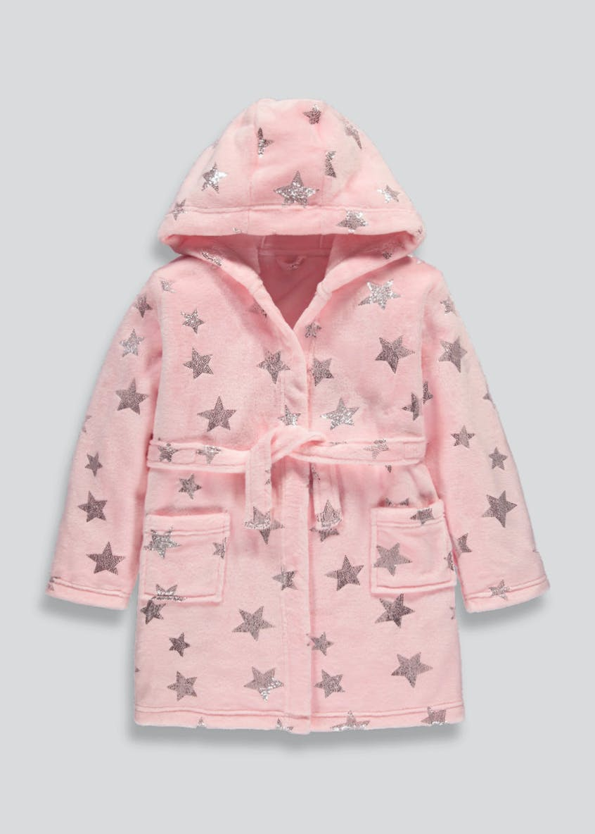Girls Foil Star Dressing Gown (4-13yrs)