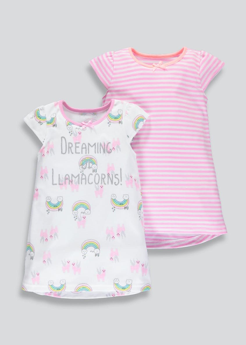 Girls 2 Pack Llamacorn Nighties (9mths-5yrs)