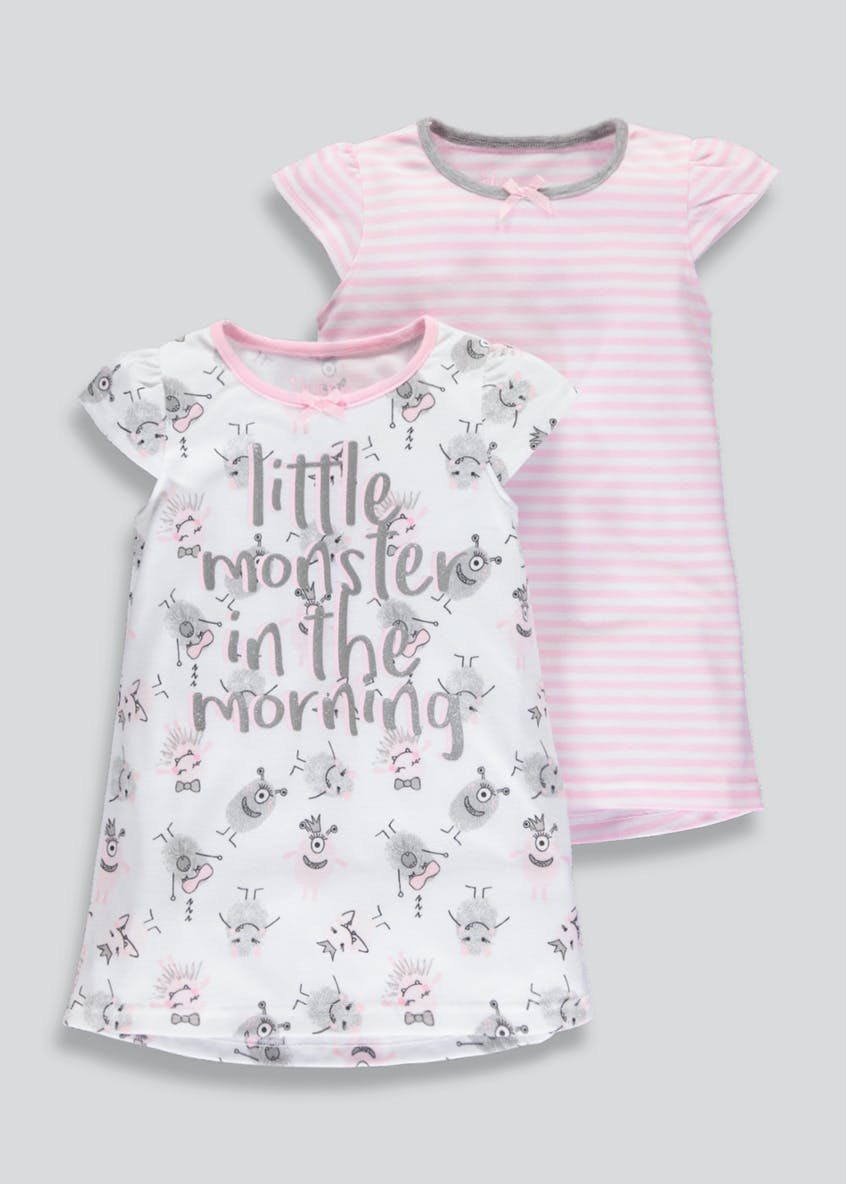 Girls 2 Pack Monster Nighties (9mths-5yrs)