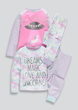 Girls 2 Pack Planet Unicorn Pyjamas (4-13yrs)