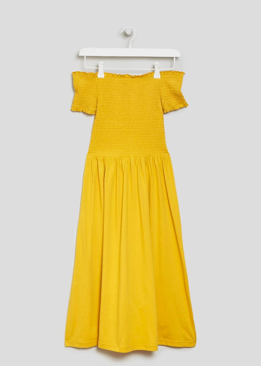 Shirred Bardot Midi Dress - Mustard