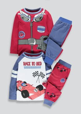 Boys 2 Pack Racing Car Pyjamas (9mths-5yrs)