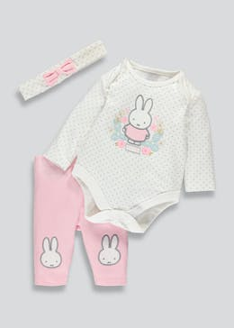 Girls Miffy Bodysuit Leggings and Headband Set (Newborn-12mths)