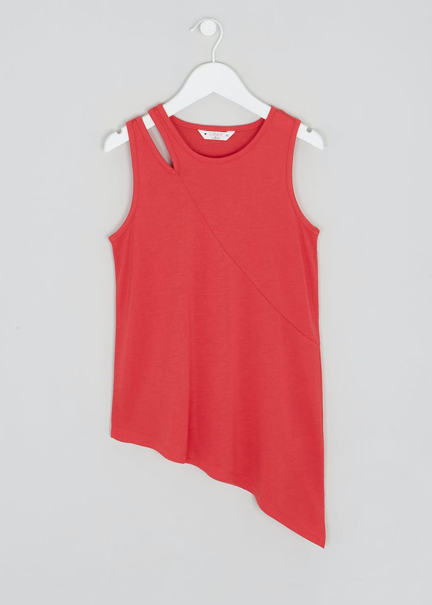 Girls Candy Couture Cut Out Asymmetric Vest (9-16yrs)
