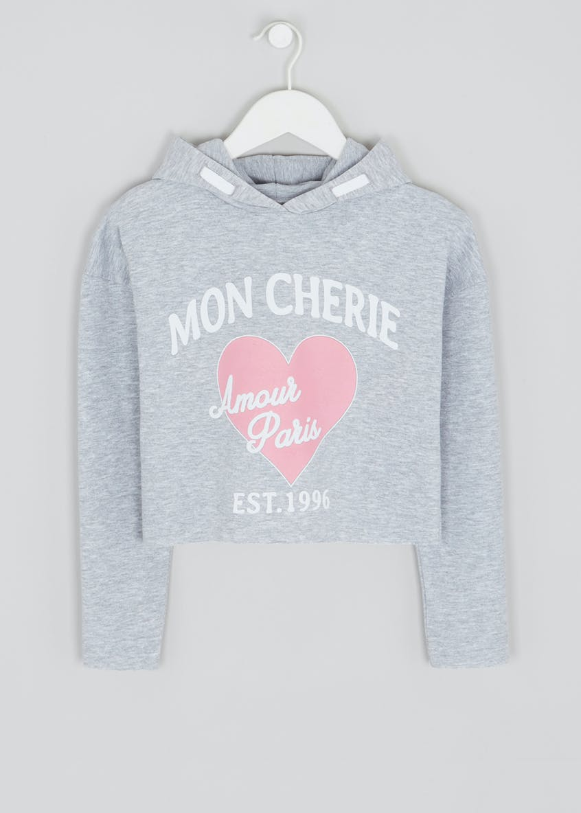 Girls Candy Couture Mon Cherie Slogan Cropped Sweatshirt (9-16yrs)