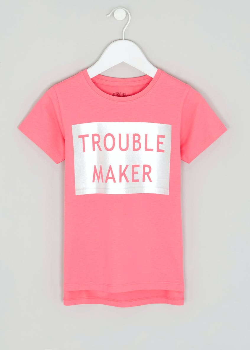 Girls Trouble Maker Slogan T-Shirt (4-13yrs)