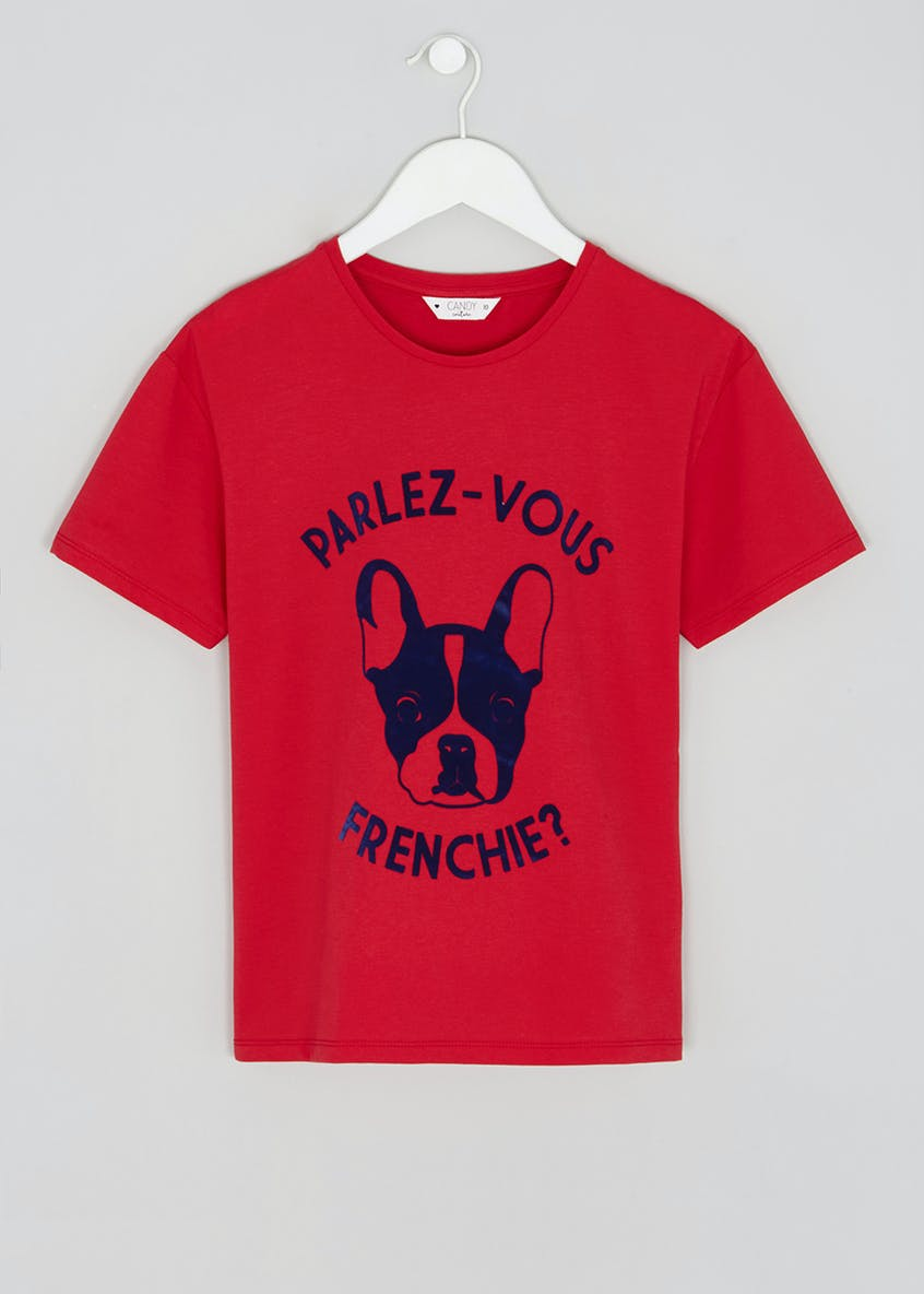 Girls Candy Couture Frenchie Dog T-Shirt (9-16yrs)