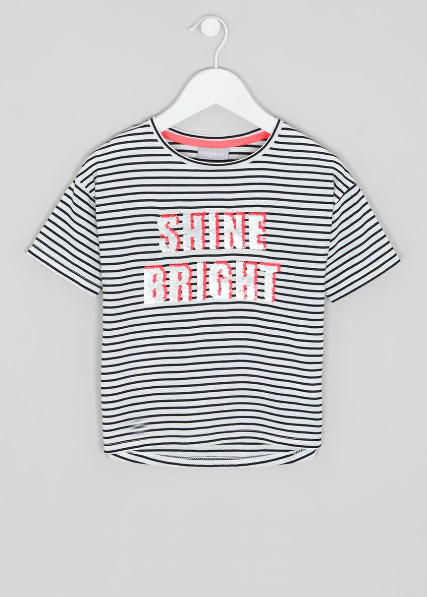 Girls Shine Bright Sequin Slogan Stripe T-Shirt (4-13yrs)